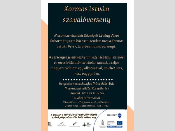 Kormos István vers -, és prózamondó verseny