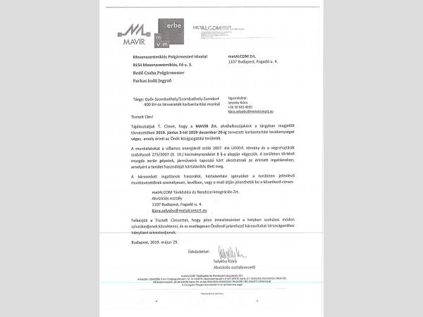 400 kV-os távvezeték karbantartása miatti zöldkár bejelentése